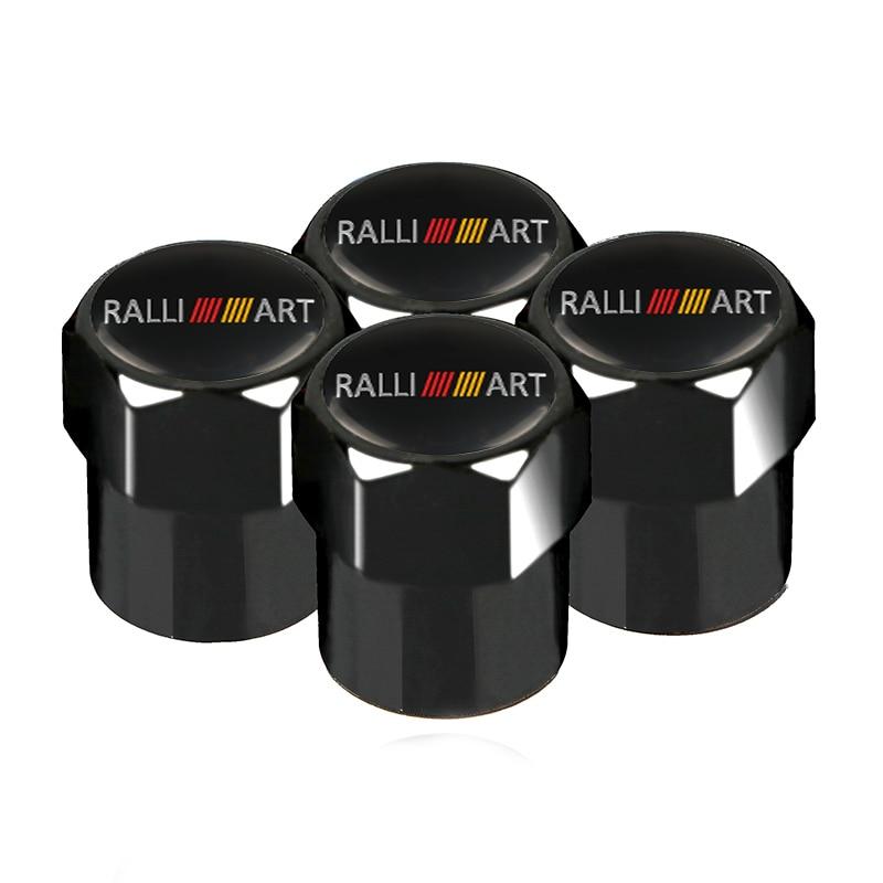 4pcs Car Styling Auto Caps Case for Mitsubishi RalliArt Lancer Ralli Art 10 ASX Car Emblems Badge Accessories Car-Styling Black