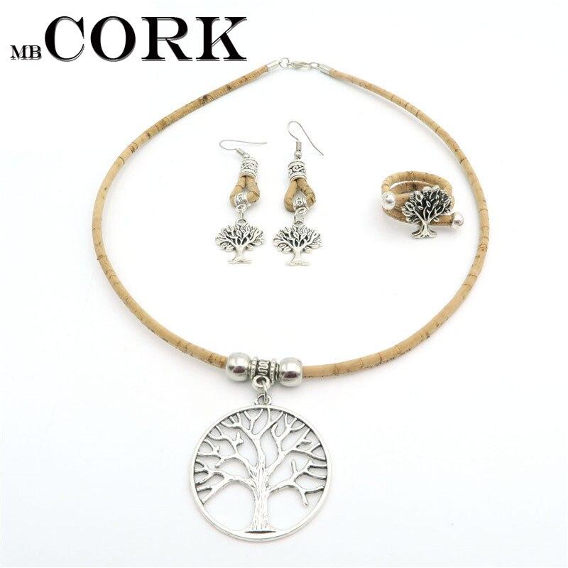 Natural Cork life of tree women original jewelry sets Handmade Natural materials wooden jewelry Set-017 engraved life tree round jewelry set