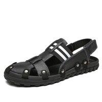 Hole Shoes Male Sandals Genuine Leather Crocse Clogs Mens Shoes Sandalias Hombre Sandles Sandalet Summer Croc Sandali New 2019