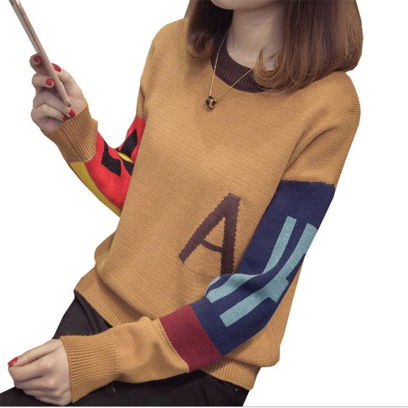 2018Fashion Print Letter Women Sweater Female Autumn Winter Knitted Tops Jumper Short Warm Sweater Pullovers O-Neck Tops CQ2813