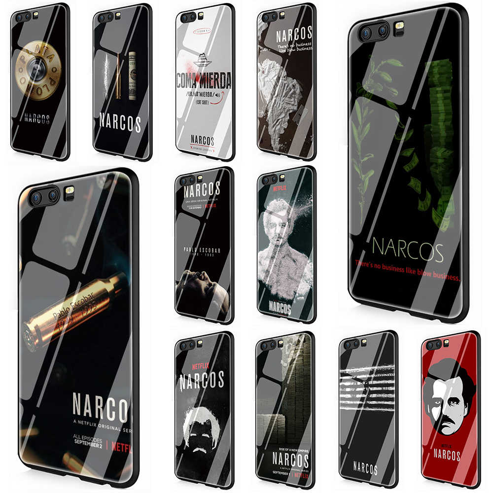 Wagner Moura Narcos pablo escobar Tempered Glass TPU Black Cover for Huawei P10 P20 Mate 20 Honor 9 10 Lite Pro 7A 8X P Smart
