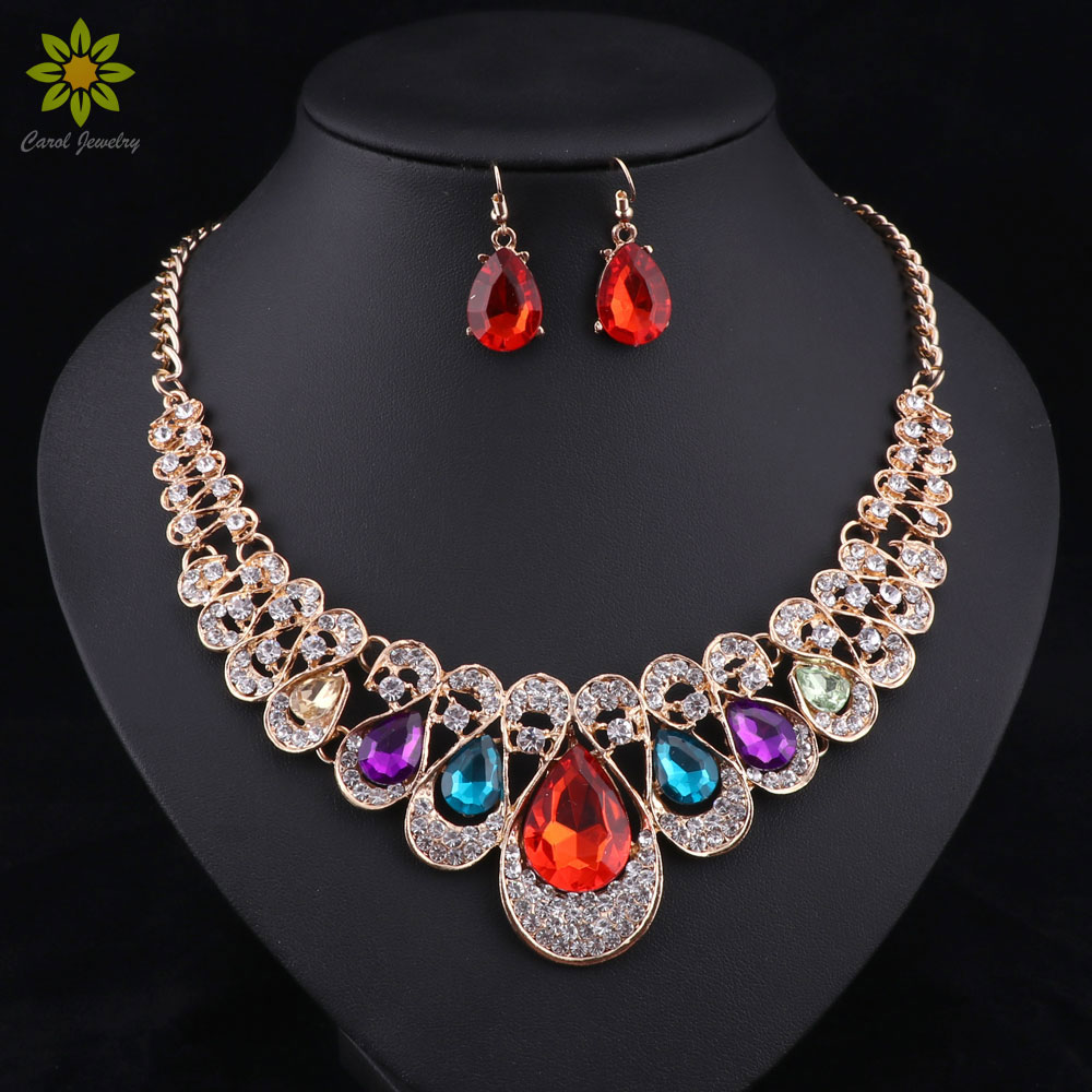 Mode indiska smycken Blå kristallhalsband örhängen Brud smycken uppsättningar för brudar party bröllop tillbehör dekoration
