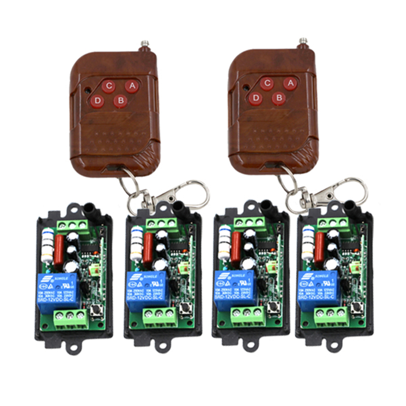 Home Automation 10A 1CH Gate Garage Door Wireless Remote Switch 220V 110V 4pcs Receiver 2pcs Wooden 4-Button Transmitters 3415 ac220v 1ch 10a rf wireless remote control switch system 4 transmitters mini receiver for appliances gate garage door window