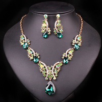 Fashion Crystal Necklaces Earrings Bridal Jewelry Sets For Brides Wedding Party Jewelery costume Decoration Women Gift wholesale