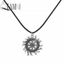 Здесь можно купить  Antique Silver Punk Unique Round Kolovrat Amulet Fire Rope Chain Slavic Pendant Necklace Christmas Jewelry Gift for Men Women