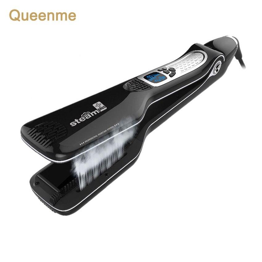 Queenme cepillo de la enderezadora del pelo del vapor personalizado profesional Steampod que endereza el hierro plano del pelo rápido herramientas