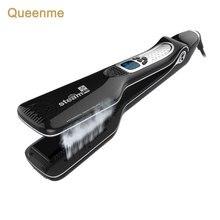Queenme escova de alisar cabelo a vapor, profissional personalizado ferro plano, ferramentas de estilo de cabelo rápido