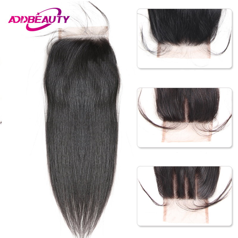 HD Transparent 4x4 Lace Closure Straight Virgin Brazilian Human Baby Hair Free Middle Three Part Natural Color For Black Woman