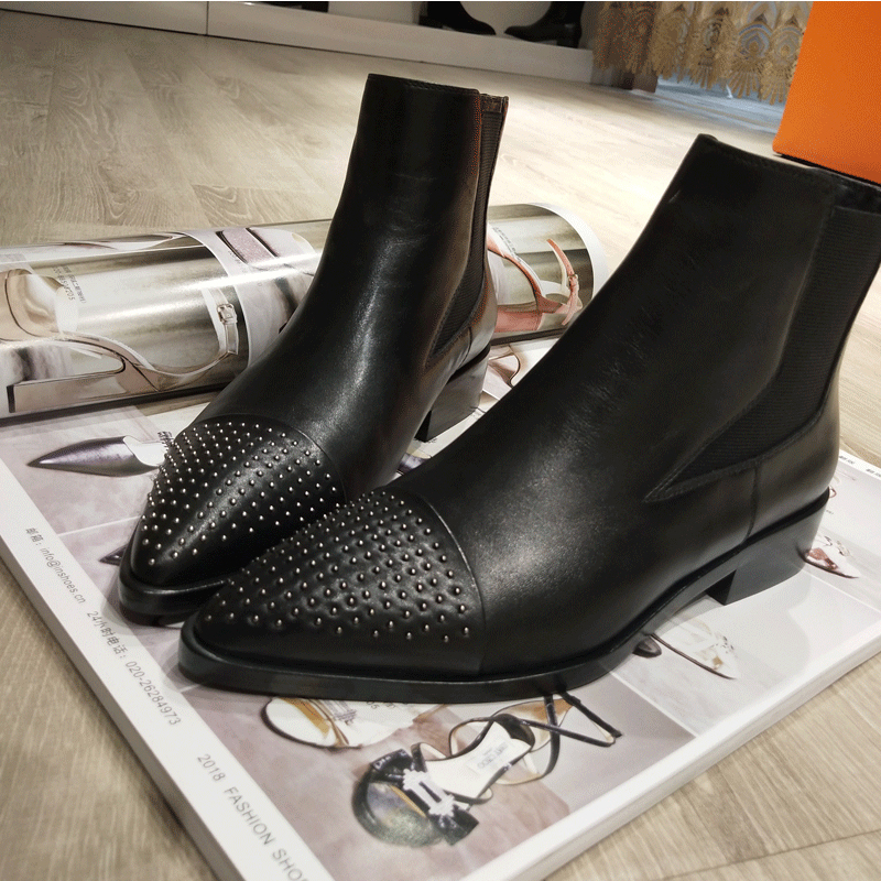 Hot 2018 Autumn Winter New Shoes Women Low Heels Ankle Boots For Women Slip-on Martin Boots Women Ladies Shoes Zapatos De Mujer цена 2017