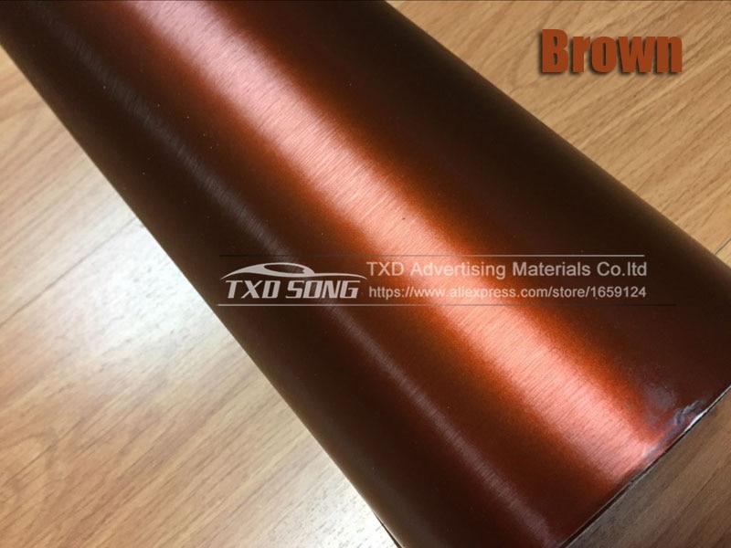 Хорошее качество, хромированная металлическая матовая алюминиевая виниловая металлическая виниловая пленка для отделки автомобиля, наклейка для стайлинга автомобиля, украшение из фольги - Название цвета: brown