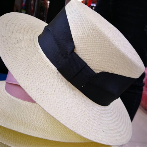 6pcs Unique Women Ivory Paper Straw Boater Hats Black Ribbon Straw Hat  Ladies Summer Blue Band Cream Beach Sun Caps Wholesale -in Sun Hats from  Apparel ... 6e04a6d76b38