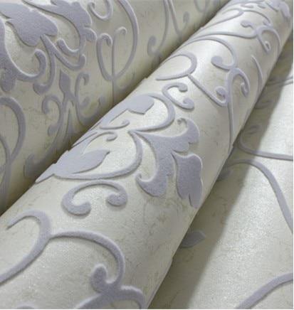 ФОТО Modern Damask 3D Velvet Wallpaper Flocked  Grey Wallcovering  for Bedding TV Background Wall Roll 10m  Home Decor Soundproofing