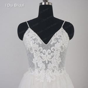 Image 4 - דוט טול חוף חתונת שמלת ספגטי פרל חרוזים רצועת כלה שמלה