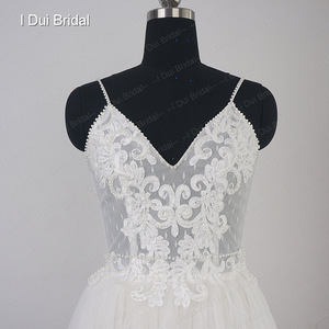 Image 4 - Dot Tulle Beach Wedding Dress Spaghetti Pearl Beaded Strap Bridal Gown