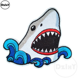 Cartoon Shark Embroidery Patches for T-shirt Iron on Stripes Clothes Stickers Sewing Applications Hippie Animals Badges @B-34