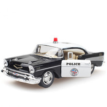1:40 Alloy Diecast Models Car Toy, Brinquedos , Pull Back Police Car, Doors Openable