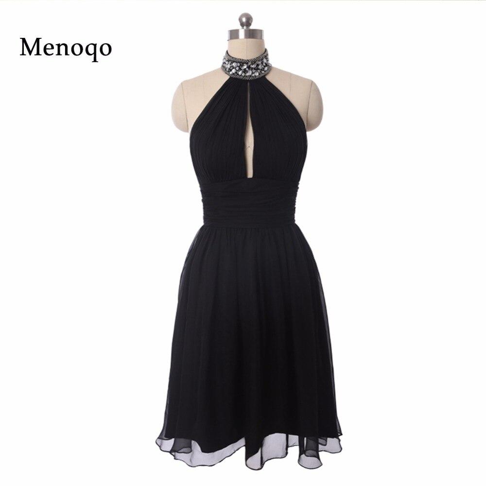 תמונה אמיתית שמלות פעם די קוקטייל צוואר קולר שורת חרוזים שיפון קצר קיץ סגנון Vestido 2018 שמלות קוקטייל שחור