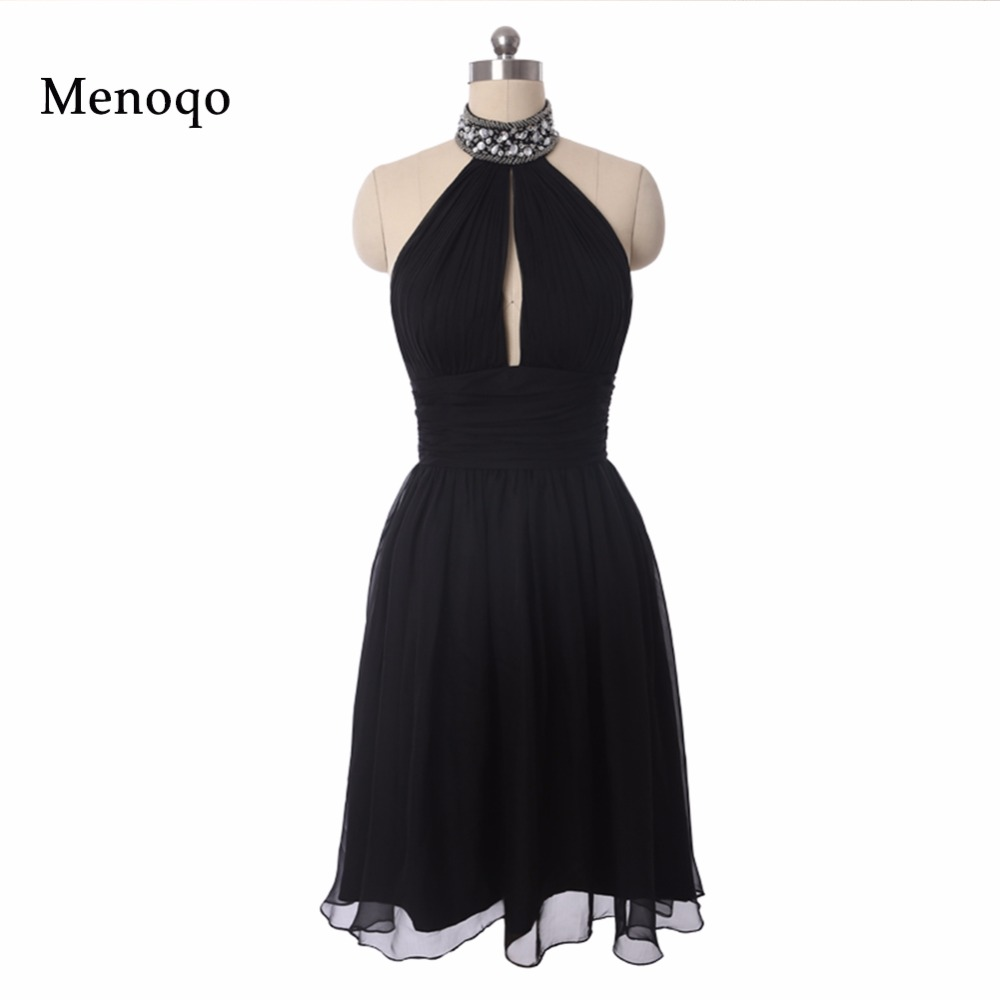 Real Image   Cocktail     Dresses   Ever Pretty A line Halter neck Beaded Chiffon Short Summer Style Vestido 2019   Cocktail     Dresses   Black