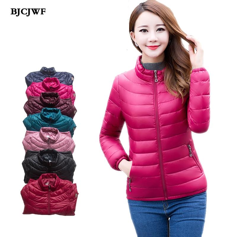 2018 Women   down     coat   Spring winter short Ultra Light Duck   Down   Jacket Warm Slim parka Female Solid New Overcoat doudoune femme
