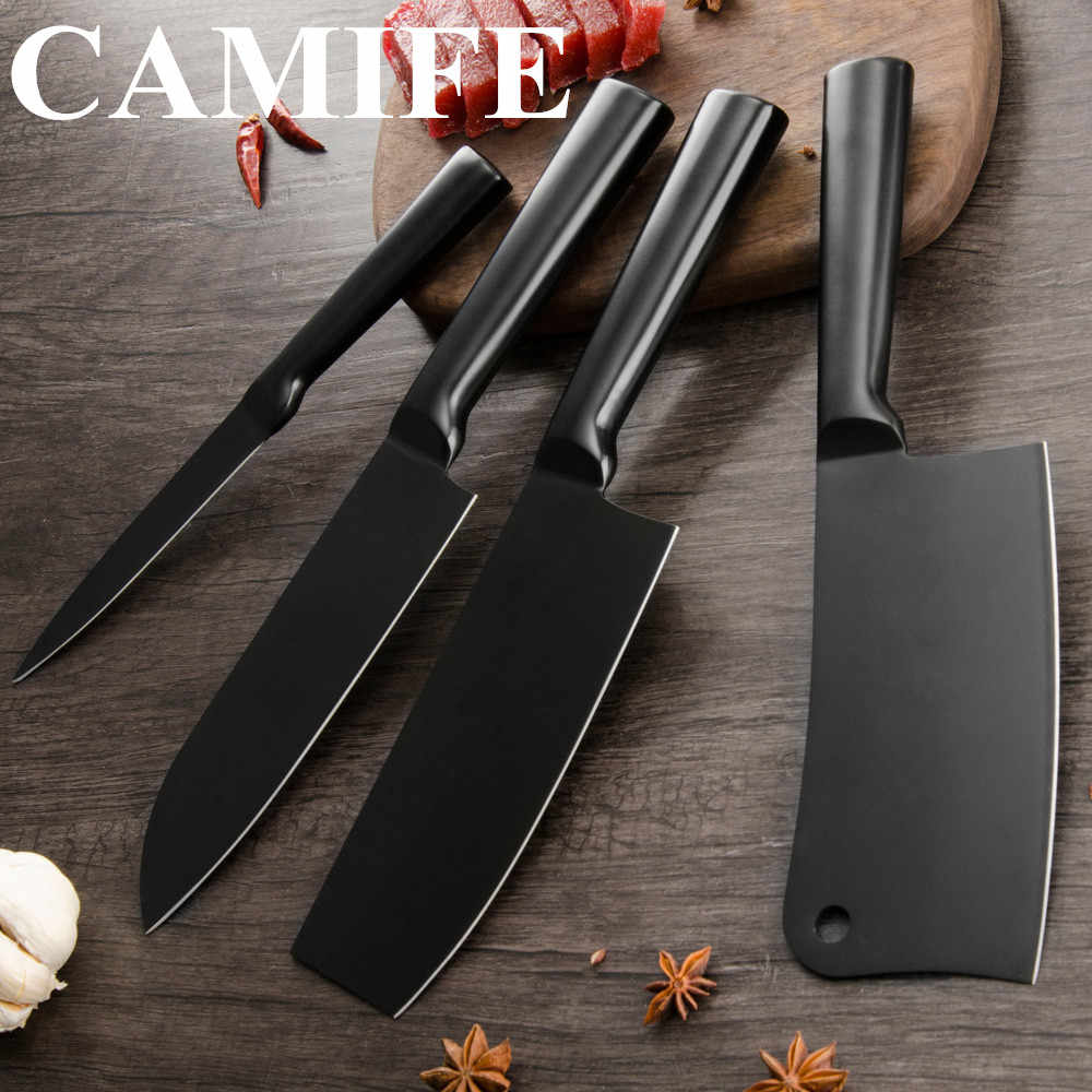 Kitchen Knife 4cr14 Stainless Steel Knife Holder Block Stand Utility Santoku Chopping Nakiri Knife Sharpener Scissor Accessories