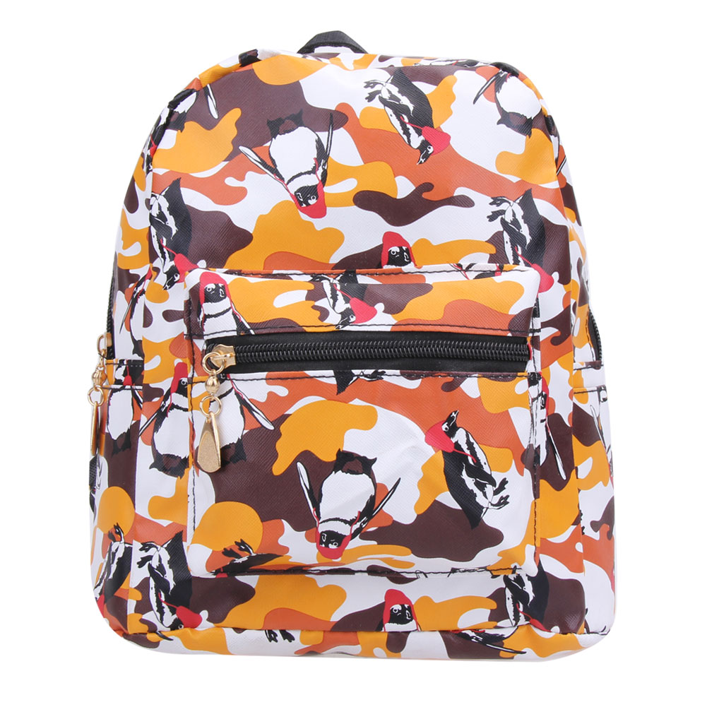 dfe7ab25812b PU Leather Women Small Backpacks Cartoon Penguin Backpack Waterproof Cute  School Bag For Teenager Girls Leisure Travel rucksack