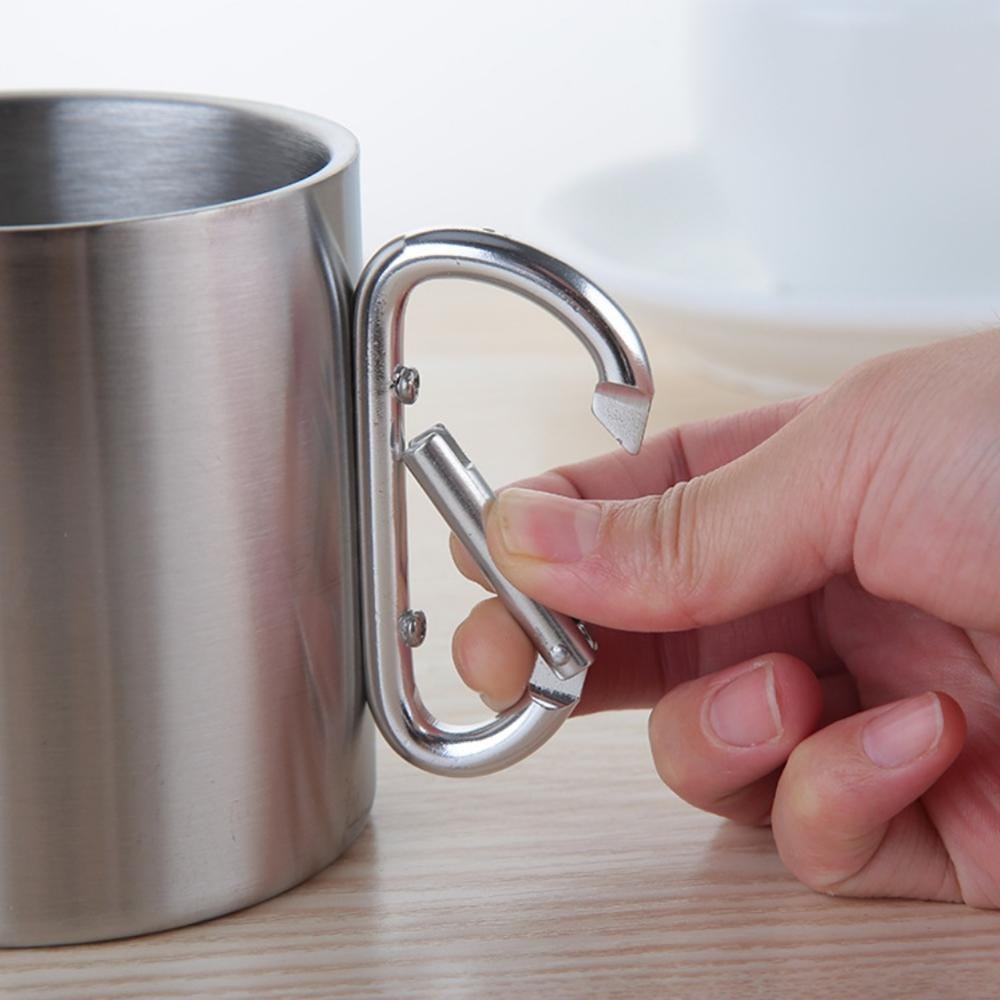 Image 5 - 220/300/350/450ml Stainless Steel Cup Portable Camping Traveling Outdoor Cup Double Wall Mug With Carabiner Hook Handle-in Outdoor Tablewares from Sports & Entertainment
