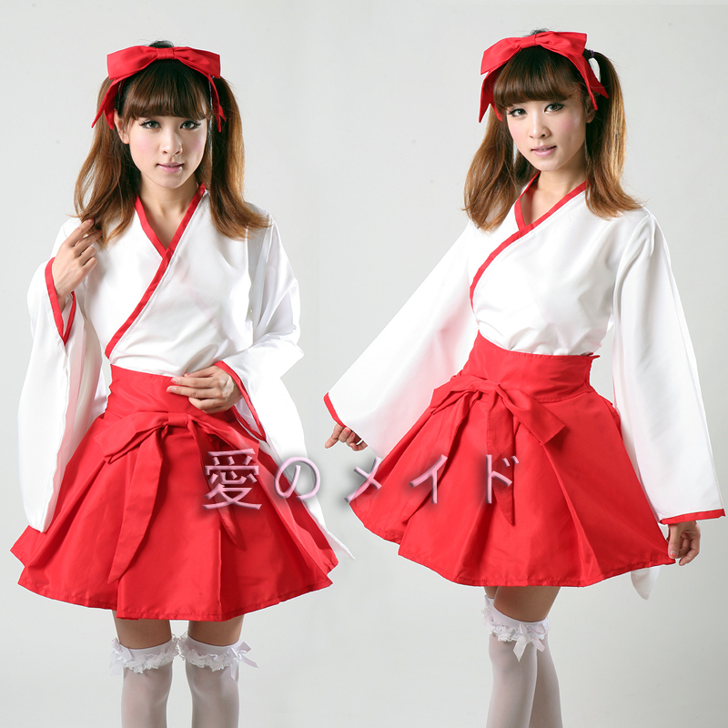 Free Shiping Cheap Red Maid kimono  cosplay  clothes costumes Halloween Dress