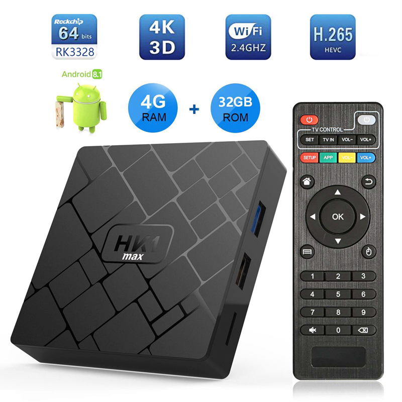 Android 8.1 Smart TV Box 4GB RAM 32GB ROM 4K 3D Media Player RK3328 Quad Core Set TV Boxes HK1 Max Android8.1 TVbox