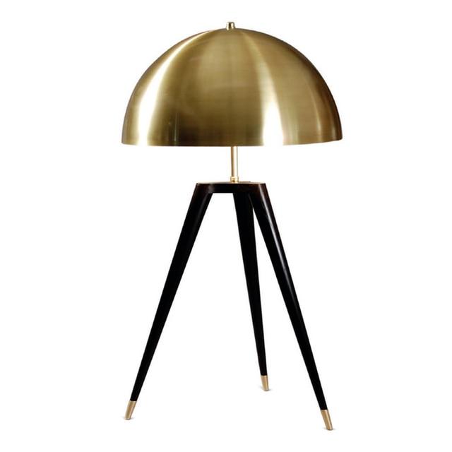 Post Modern Mushroom tripod base desk lamp brass lampshade tablelamp metal body Creative reading table lamp E27 bulb