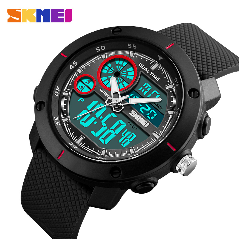 SKMEI Fashion Men Dual Display Watches Men 50M Waterproof Alarm Chronograph EL light Sports Digital Waterprof Wristwatches New