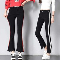 women jeans skinny flare elastic pants patchwork plus size trousers ankle tassel korean striped stretch high waist woman overa