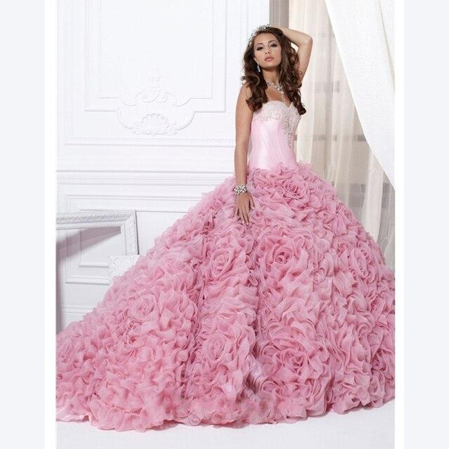 Custom Made rosa Quinceanera 2016 nova elegante Mordern querida flores Beading lantejoulas doce 16 vestidos