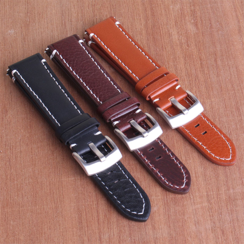 Buy 2 Get 15% OFF) Black Brown 18mm 20mm 22mm ( White Thread ) Buckle Real Genuine Leather Watch Band Wristwatch strap Watchband kathleen peddicord how to buy real estate overseas