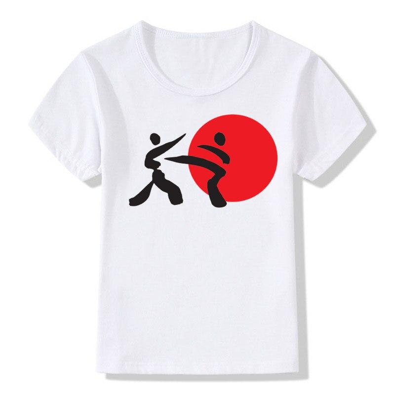 Лето мальчик и девочка печати карате удар ММА Шотокан Модная футболка Детские Короткие рукава кандзи футболка Дети Одежда для малышей, Топы