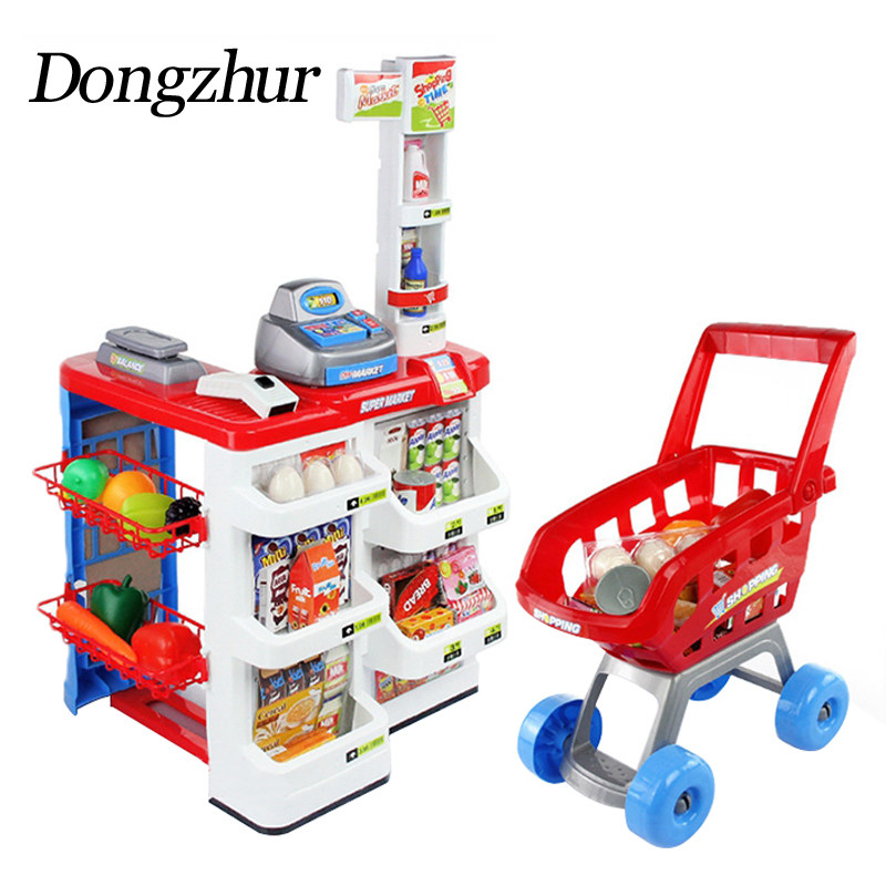 Dongzhur Kids Pretend Play Simulation Checkout Counter Set Supermarket Shopping Basket Cash Register Educational Toys For Kids