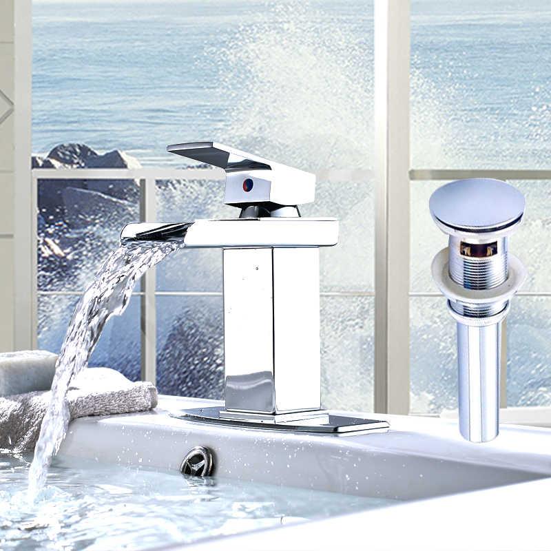 送料無料浴室ホット & コールドスイッチ水ミキサータップ洗面台の蛇口の滝の蛇口カバーとシンクドレン