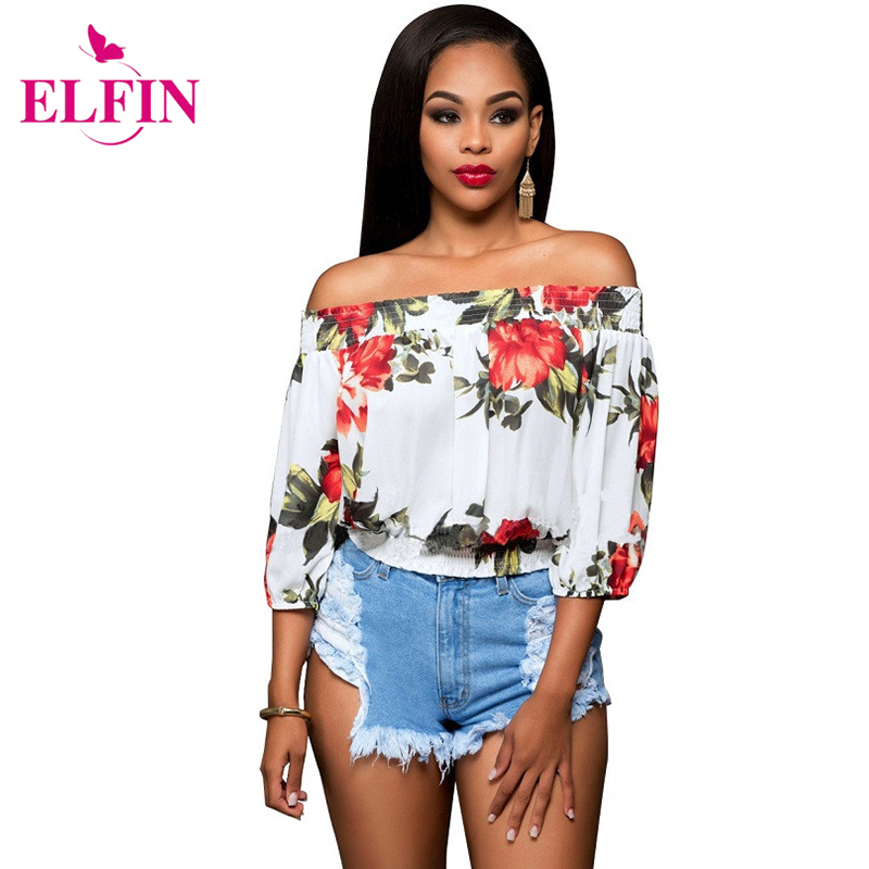 2016 Summer and Autumn Off Shoulder Top Ruffle Women Blouse Floral Print Elatic Slash Ne ...