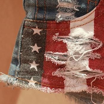Women Summer Sexy Star Stripe American US Flag Print Mini Jeans Denim Shorts 4