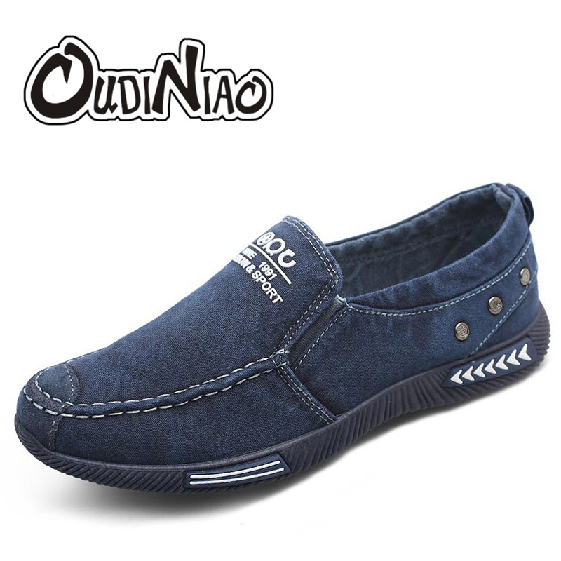 OUDINIAO Canvas Men Shoes Denim Sneakers Canvas Slip On Shoes Men Casual Shoes 2018 Plimsolls Breathable Male Footwear Spring foot sequins slip on plimsolls