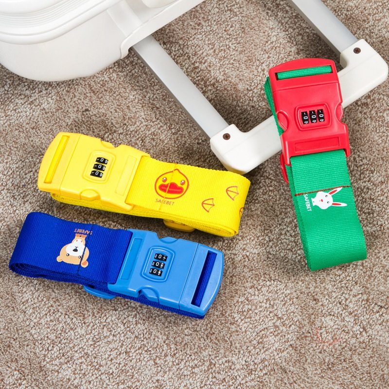 Cartoon luggage packing belt password lock trolley case tied with suitcase with tied rope