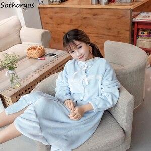 Image 3 - Ночные рубашки женские длинные Kawaii корейский стиль свободные толстые теплые мягкие однотонные кружевные повседневные студенческие пижамы повседневные женские ночные рубашки