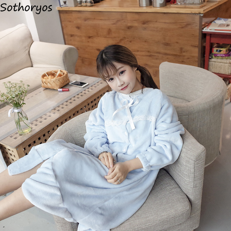 Image 3 - Nightgowns Women Long Kawaii Korean Style Loose Thicker Warm Soft Solid Lace Daily Student Sleepwear Casual Womens Sleepshirts-in Nightgowns & Sleepshirts from Underwear & Sleepwears
