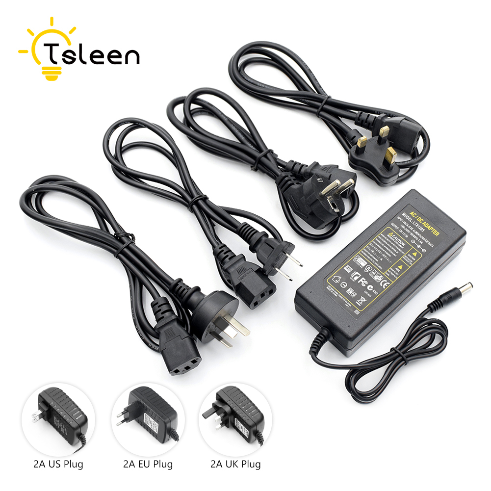 12V 5A AC 100V-240V Converter power Adapter DC 12V 5A Power Supply Charger EU/US/UK/AU Plug DC For LED Starry Strip Lights CCTV 300 5050 smd led 6500k white light strip led dimmer 12v 5a power converter us plug adapter set