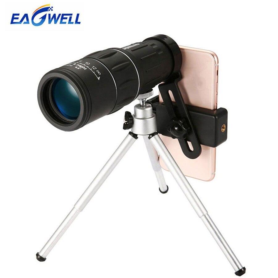 Lente de telescopio de doble enfoque 16X52 Zoom HD lente de teleobjetivo óptico Universal para Smartphones pesca de Camping al aire libre con trípode