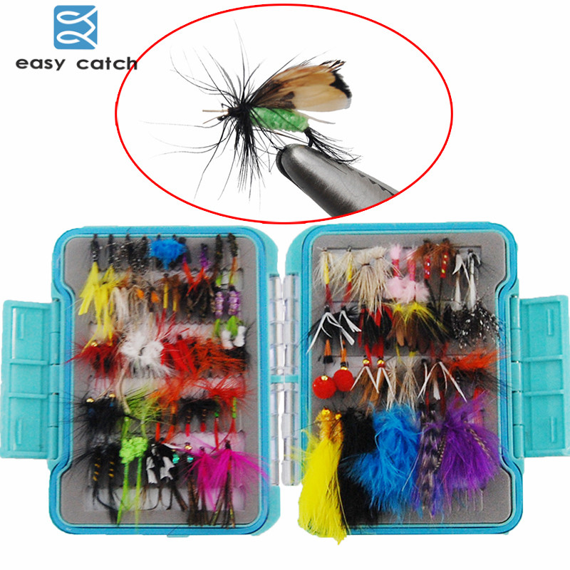 Easy Catch 94pcs/set Dry Flies Fly Fishing Lures Trout Feather Tying Fly Fishing Hooks Fly Fishing Lures Set With Box wifreo 10pcs 10 black zebra mosquito fly trout fishing dry flies fly fishing bait lures