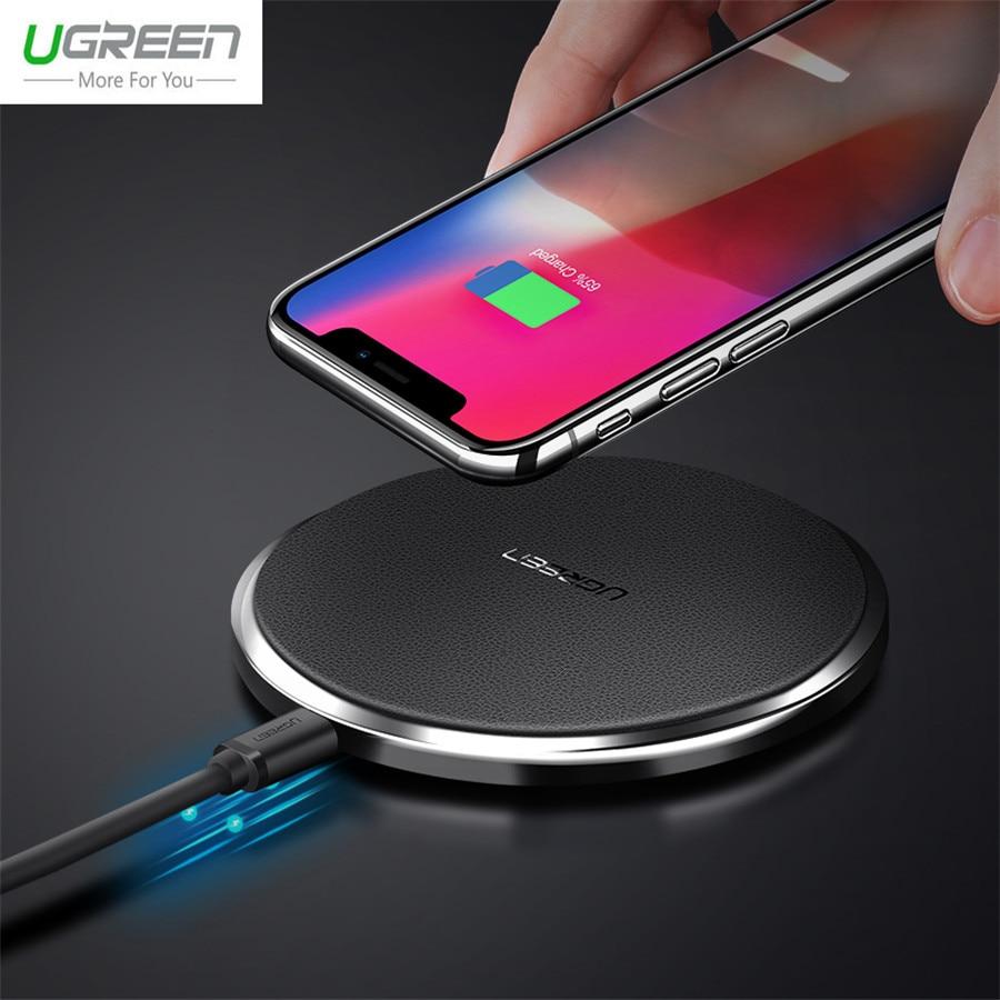 Ugreen 10 w Veloce In Pelle Caricatore Senza Fili Per Samsung Galaxy S9 S8 Più S7 Bordo USB Qi Wireless Pad di Ricarica per iPhone X 8 Più