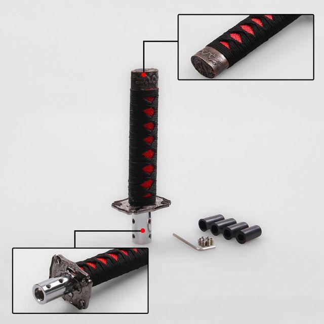 Модный 1 комплект, универсальный самурайский меч, автомобильная ручка переключения передач, катана, металлический Утяжеленный Спортивный рычаг переключения передач, 4 адаптера, автомобильные аксессуары