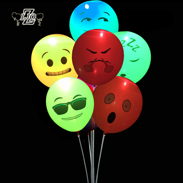 ZLJQ 12Pcs Emoji LED Light Up Balloons Party Luminous Props For Wedding And Birthday Decorations Supplies