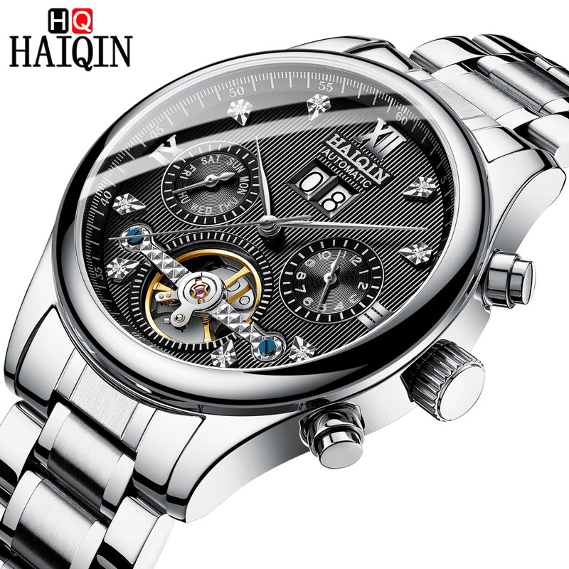 HAIQIN Men's watches Automatic mechanical Men Watches Business Watch men top brand luxury Military Waterproof Tourbillon Clock 9