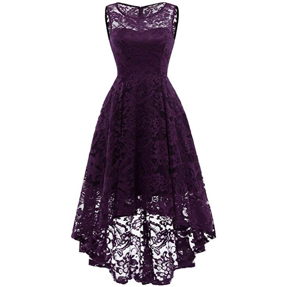 54fe6afb4c41c Woman fashion Lace Round Neck Sleeveless Pure Color Swing Slim Dress Multi  Layer party formal Dress elegant purple beige